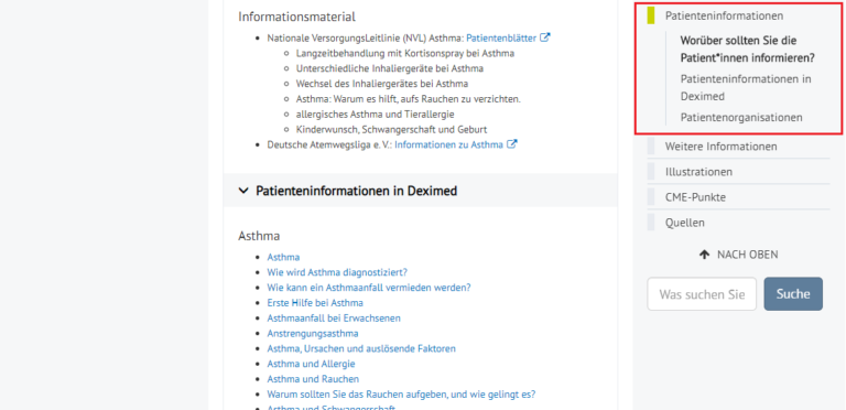 Screen Shot Patienteninformationen