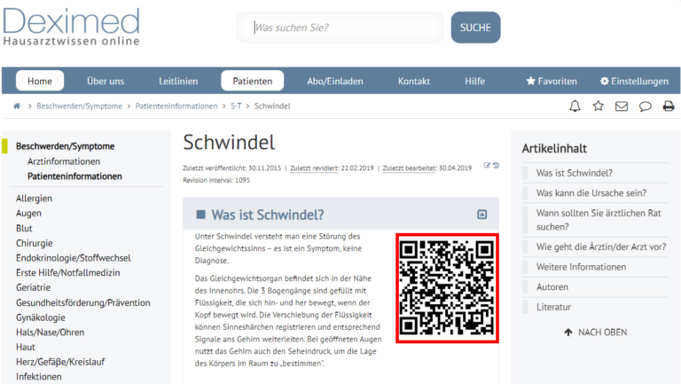 Screen Shot QR Patienten